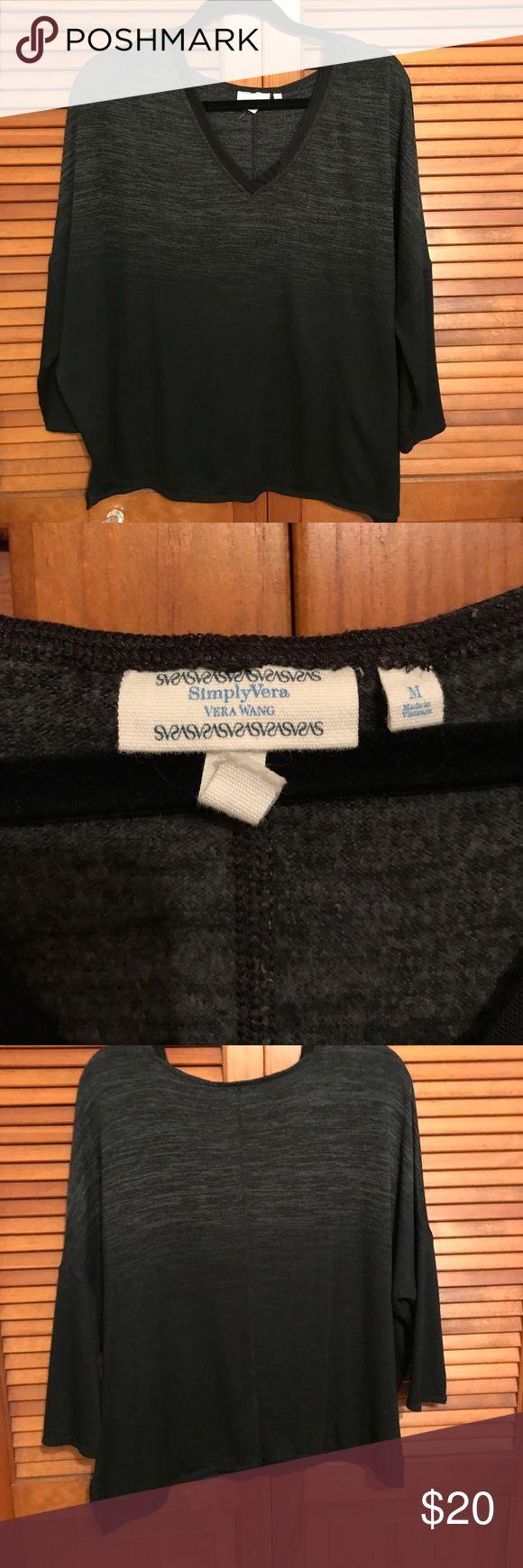 Simply Vera dolman sleeve top Simply Vera - 3/4 length sleeve. Dolman sleeve. Heathered grey ombré into black. VERY soft!! Simply Vera Vera Wang Sweaters V-Necks