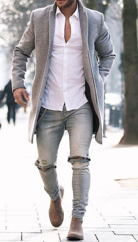 Grey Denim with grey overcoat & white Shirt for Men Mens Fashion | #MichaelLouis – www.MichaelLouis.com – Father Of A Bijoux Designer