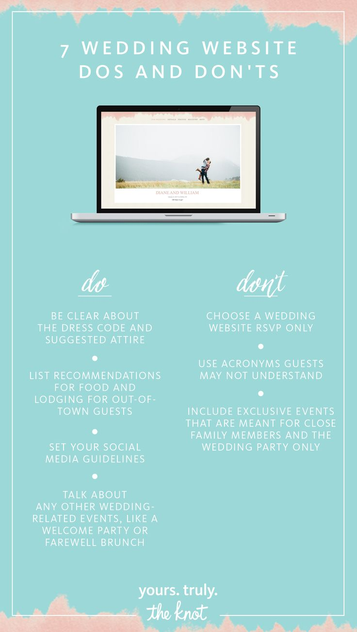 Your wedding website is a tool meant for keeping your guests up to date and aware of what is going on leading up to the big day. Make your website perfect with a little help from us - we've got the dos and don'ts for creating a helpful and fun wedding website!