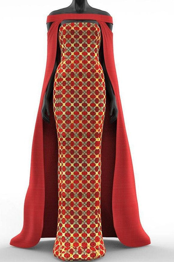 63f79b81559a7 2 piece African Print Cape Maxi Fitted Dress | Africa fashion ...