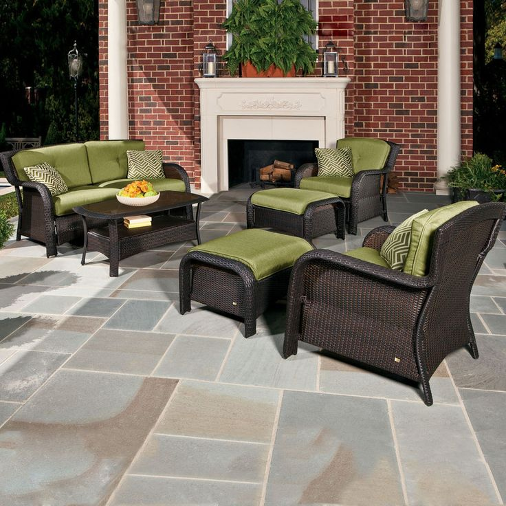 Lowes $1299 Shop Hanover Outdoor Furniture 6 Piece Green
