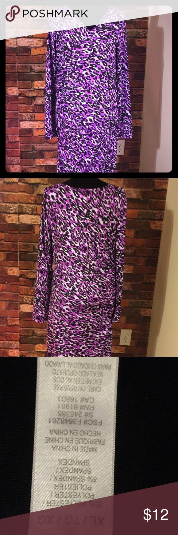 Dress Purple long sleeve animal print dress Dresses Long Sleeve