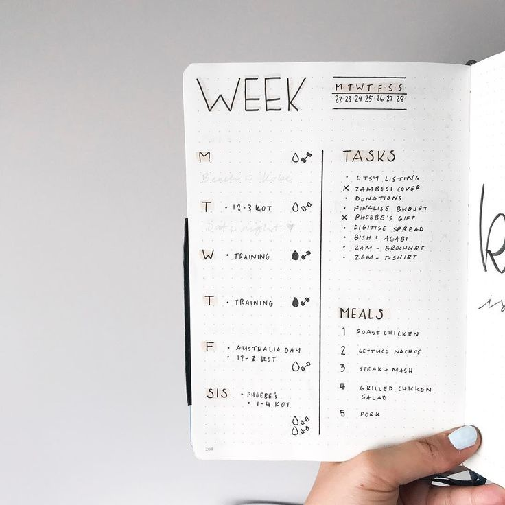 Bullet journal weekly layout, one paged bullet journal weekly layout, highlighted daily headers, minimalist daily headers, weekly task list, weekly meal tracker. | @whitelanedesigns