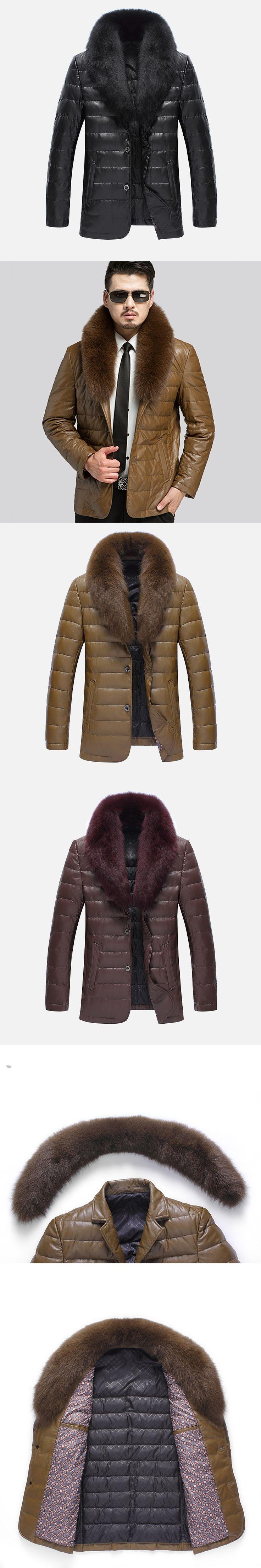 2017 Winter Men Leather Jackets Fur Collar Detachable Faux Leather Down Jackets Turn-down Collar Casual Jackets Coat XXXL