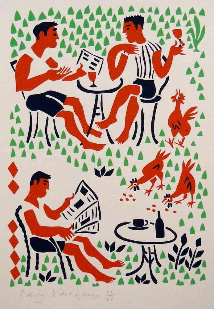 Stencilprint, three men in the garden