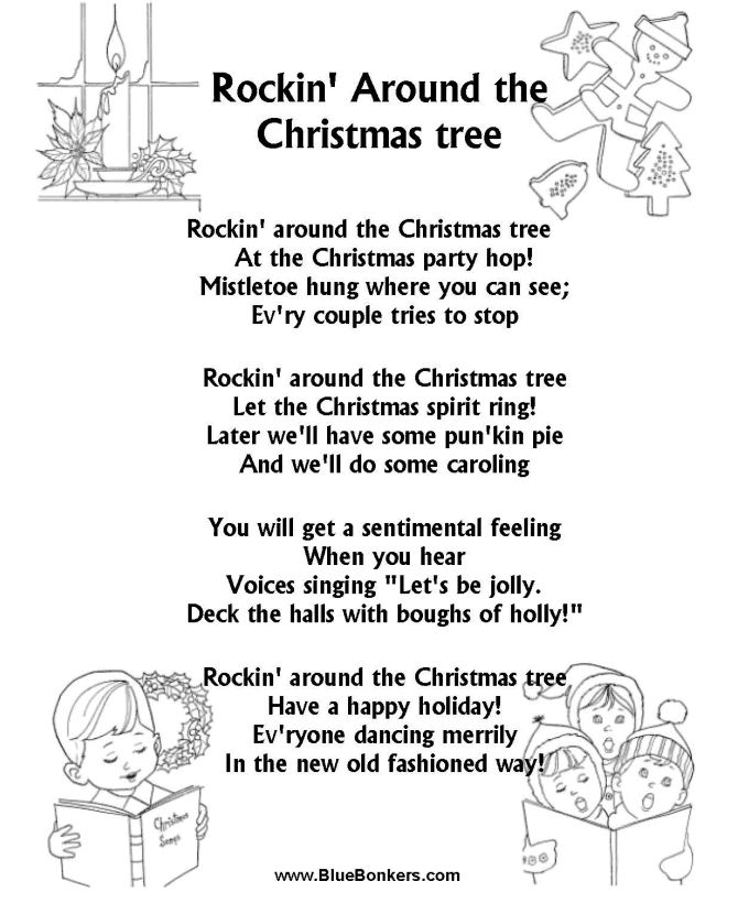 graphic regarding Printable Christmas Songs Lyrics Free identified as Printable Words and phrases In direction of Rockin About The Xmas Tree