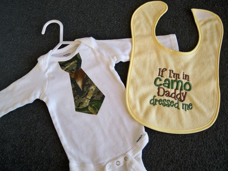 """Camo Baby Boy Gift Set - Yellow Baby """"If I'm in Camo Daddy Dressed Me"""" Bib and Camo Tie Onesie - Perfect for Daddy's Little Hunter. $16.50, via Etsy."""