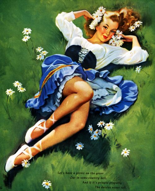 Illustrator: Gil Elvgren (1952)Gilelvgren, Lazy Day, Vintage Pinup, Vintage Pin Up, Pinup Girls, Vintage Girls, Gil Elvgren, Flower Girls, Pin Up Girls