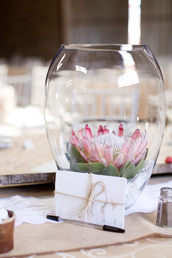 protea flower centerpiece #weddingreception #centerpiece #weddingchicks http://www.weddingchicks.com/2014/02/27/south-africa-farm-wedding/