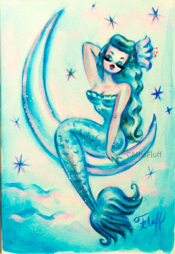 Drawing featuring a beautiful dreamy blue mermaid sitting on the moon. Original Art by Claudette Barjoud, a.k.a Miss Fluff. www.missfluff.com