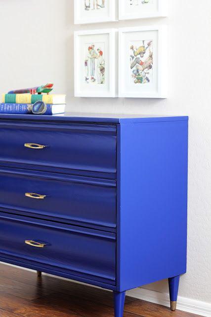 Cobalt blue repainted drawer