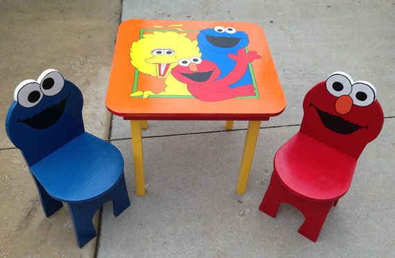 This is an awesome hardwood Cookie Monster / Elmo Table And Chair Set I found on Etsy