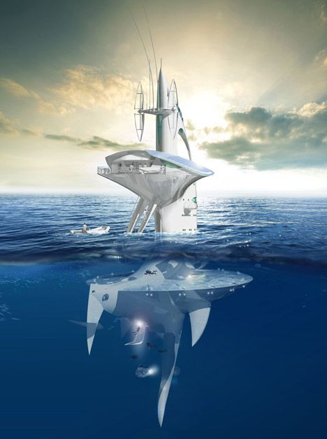 SeaOrbiter by Jacques Rougerie / French architect Jacques Rougerie has designed a cross between a skyscraper and a boat for exploring the unchartered territories of the earth's oceans.