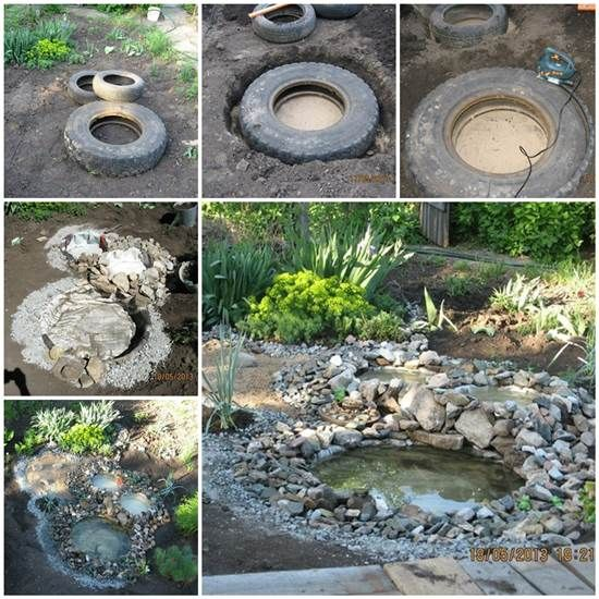 This is an awesome idea . Build an easy, inexpensive garden pond from old tires.Tyre Ponds are a great little garden feature that can enhance the overall aesthetics and integrated pest management of a site. By inviting biodiversity into the site we can make the system more resilient and attractive which tyre ponds do so elegantly. Try it !