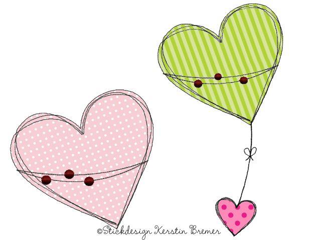 Herzen Doodle Stickdateien Set