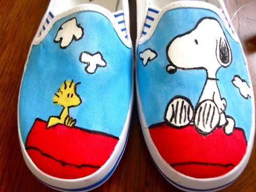 Peanuts' Snoopy & Woodstock Shoes    Painted by Angelika Albaladejo  Vans-Gogh: Hand-Painted Shoes