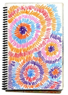 Art Projects for Kids: Art Journal Fireworks Drawing
