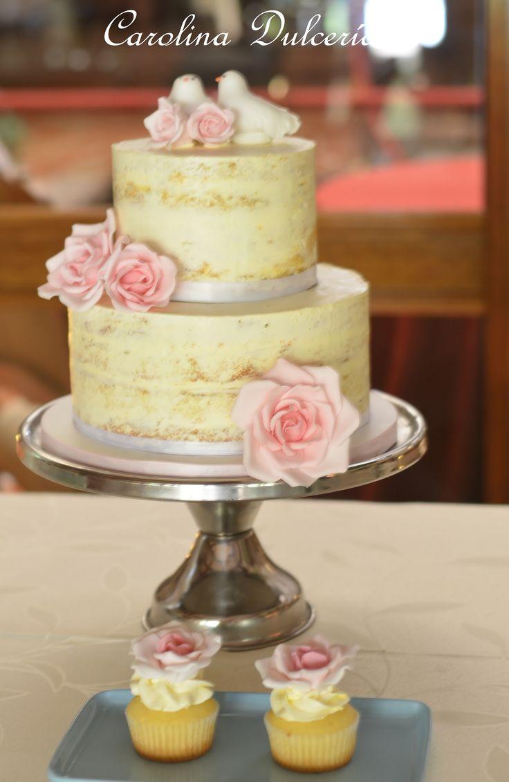 Roses, birdies wedding cake, Torta rosas y pajaritos