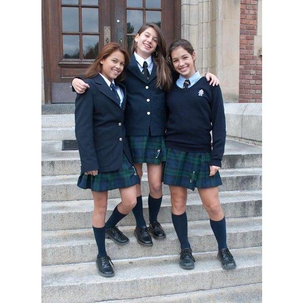 Three Highschool Girls In Private School Uniforms Hanging Out In A... ❤ liked on Polyvore featuring people and pictures