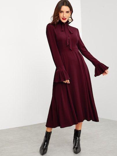 Tie Neck Pleated Ruffle Cuff Fit & Flare Dress – #Cuff #Dress #Fit #Flare #kleid…