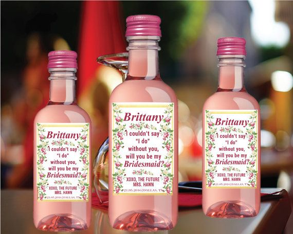Custom Will You Bridesmaid Bachelorette Bubbly by LabelByLoveArts