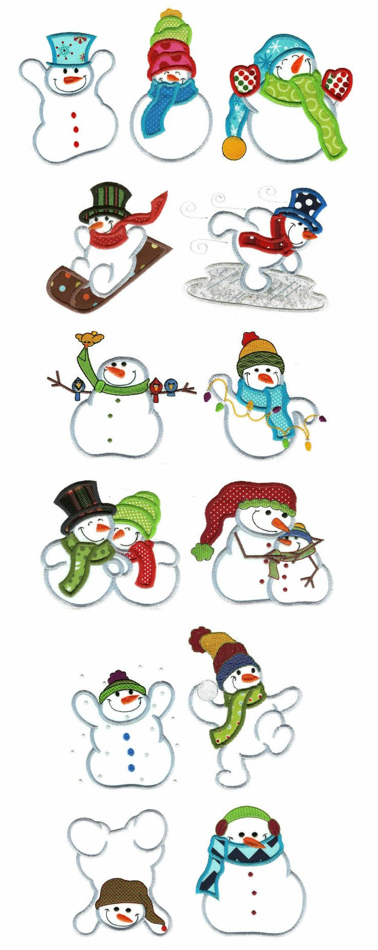 Simply Snowmen Applique Machine Embroidery Designs Collection (26 Designs) $20.00 on Designs by Juju at http://www.designsbyjuju.com/products/dbjj558.aspx