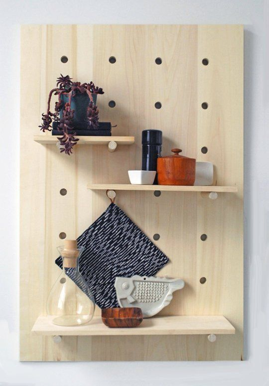 Get Organized!: 8 Wall-Hanging DIY IdeasDiy Ideas, Modern Pegboard, Shelves System, Pegboard Shelves, Diy Pegboard, Peg Boards, Wall Shelves, Projects Ideas, Diy Projects