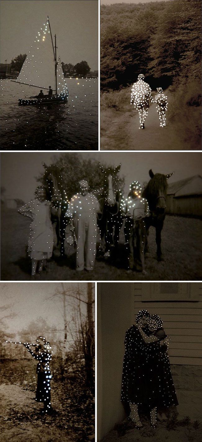 In her photography series Daré alla Lucé, Canadian artist Amy Friend allows new light to pass through found vintage images by altering the surface with tiny pinholes.