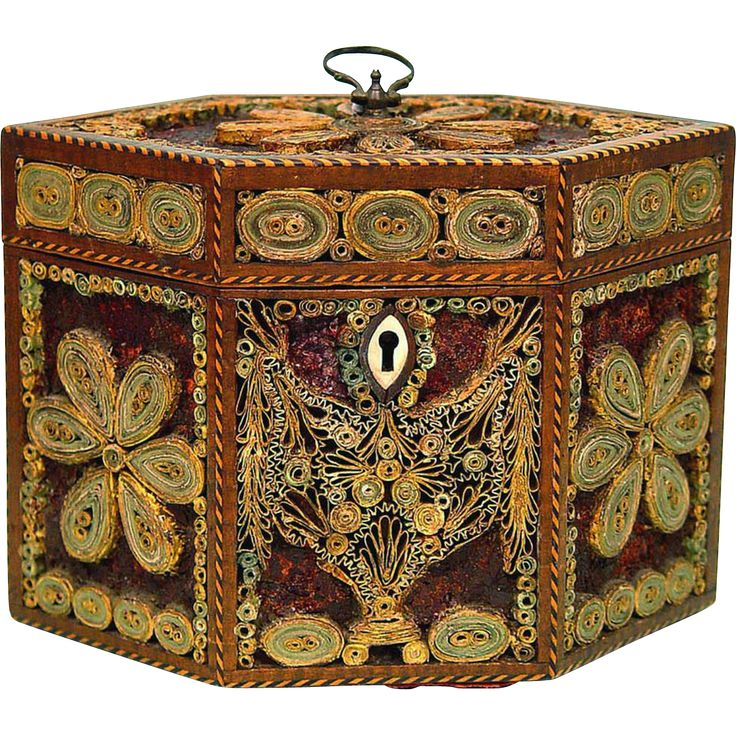 Tea Caddy of Rolled/Scrolled Paper or Quillwork & Mica Decoration, from boxes on Ruby Lane