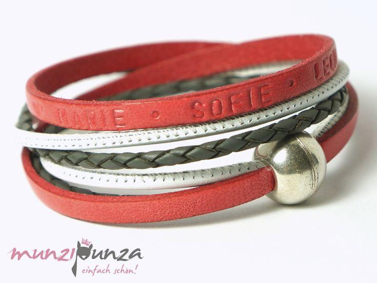 Namensarmbänder - Namensarmband  LEDER  Art. 150 Magnetverschluss - ein Designerstück von munzipunza bei DaWanda