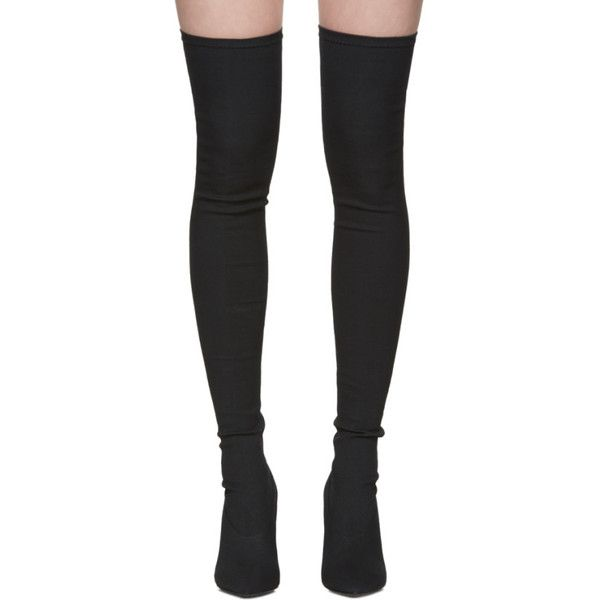 YEEZY Black Canvas Thigh-High Boots ($675) ❤ liked on Polyvore featuring shoes, boots, above the knee boots, black boots, thigh boots, thigh high boots and stretch boots