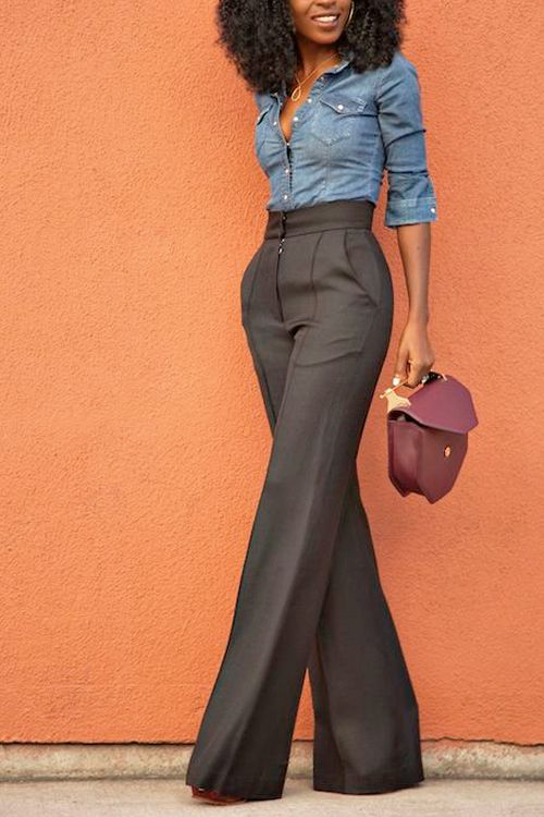 wide leg pants are so on point with a classic chambray shirt.