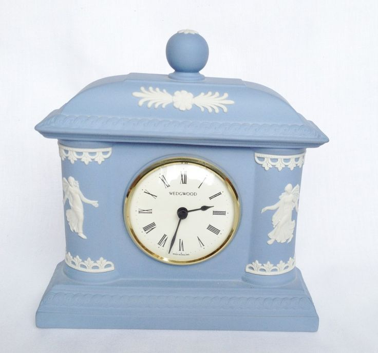 Dancing Hours Mantle Clock Wedgwood Blue Jasperware