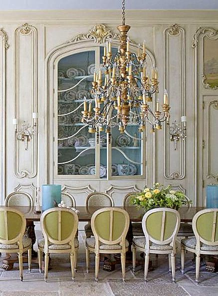 Absolutely Gorgeous Formal French Dining Room With Built In China Cabinet Incredible Carved Panels And