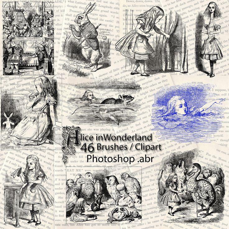 Alice In Wonderland Photoshop Brushes 46 Clip art Digital Stamps Clipart Illustrations John Tenniel White Rabbit Mad Hatter Cheshire Cat by NanaVicsDigitals on Etsy