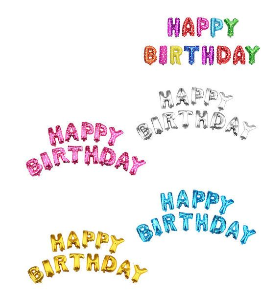 16/' Large 13pc Happy Birthday Balloon Banner Foil Letters Party Decoration