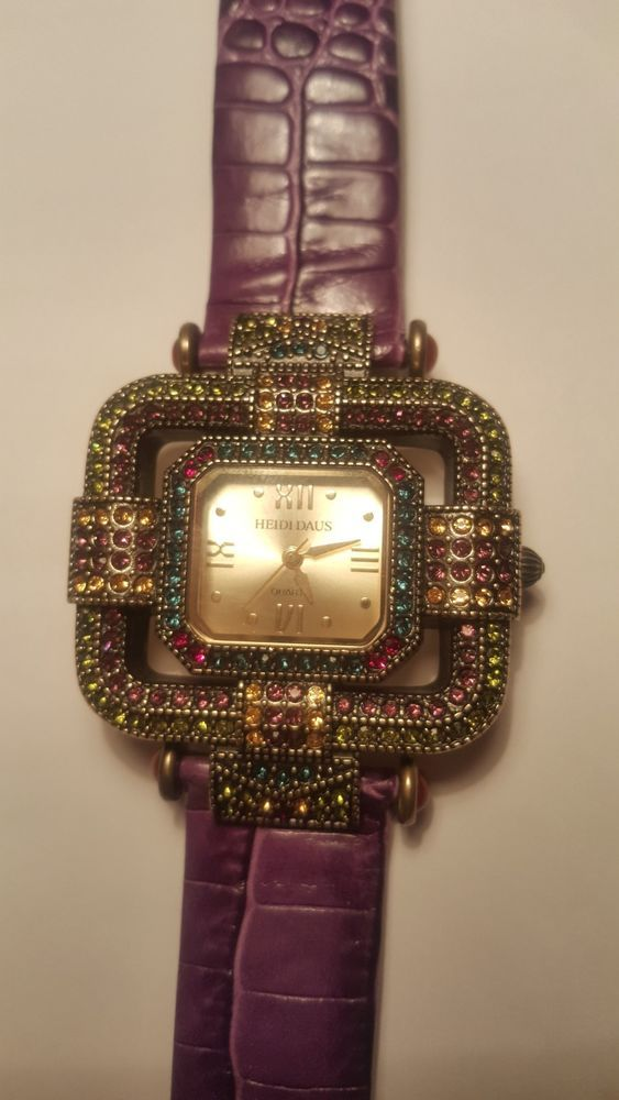 Heidi Daus Art Deco Crystal Watch purple leather m new battery Japanese movement