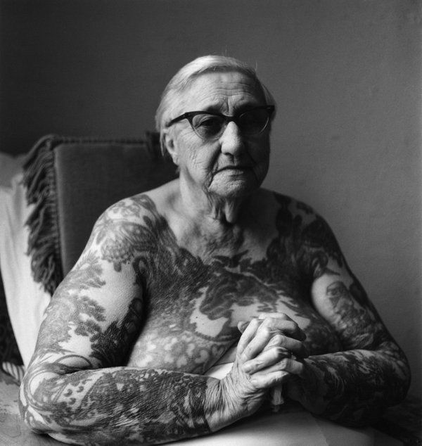 "Photographer Imogen Cunningham, Former circus 'tattooed lady' Irene ""Bobbie"" Libarry from the 'After 90' series (1976) #womensart"