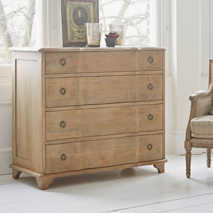 The Arles Chest of Drawers has a timeless French design and comes with five spacious drawers for all your clothes. Hand-carved in solid mango wood built to last a lifetime, this French chest of drawers has a charming ripple-like serpentine shape along its front and each drawer features two distressed iron handles. The top compartment also has three smaller sections, perfect for storing hats, gloves, socks and underwear.Mango wood96cm (h) x 110cm (w) x 50cm (d)