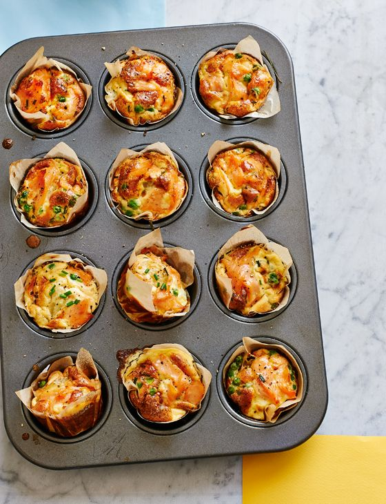 Smoked salmon, pea and Parmesan mini frittatas - Great for picnics or a portable lunch, these can be served warm or at room temperature