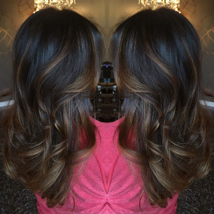 Dark Brown Balayage On Long Hair Beautiful Chocolate