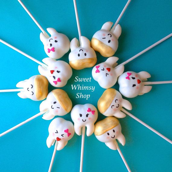 12 Cute Sweet Teeth Cake Pops: Tooth Fairy, Dentist, Dental Hygienist, Graduation, Wedding favor, Teething party, groom's cake, kawaii