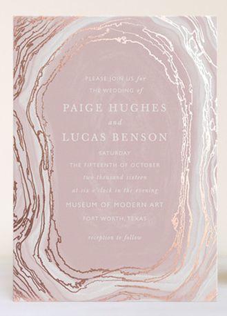 Dusty pink agate slice invitation design