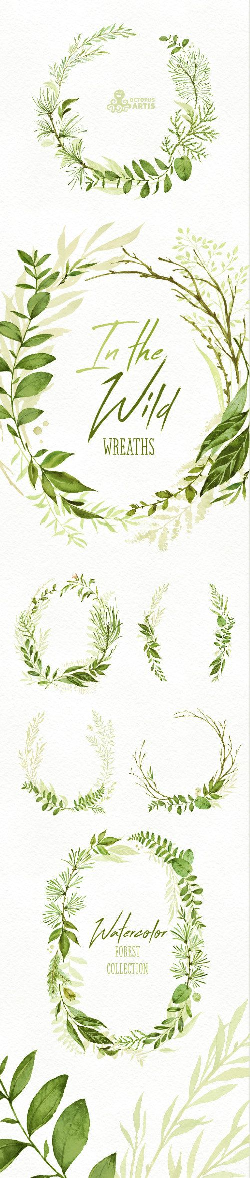 In the Wild. Watercolor floral wreaths branches by OctopusArtis
