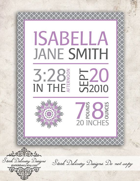 Purple Dahlia Baby GIrl Nursery Wall Art - Birth Stats -  DIY Printable on Etsy, $10.00 love this for baby room