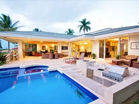 LHM Hawaii - This contemporary Designed, specialty home boasts the absolute best panoramic ocean views in Wailea, Molokini to West Maui! 4800+ sf, single-level living with 4 private suites + an office, media room, exercise area, wine cellar, elevator, top-of-the-line appliances & Miele coffee system. The master suite features indoor  …