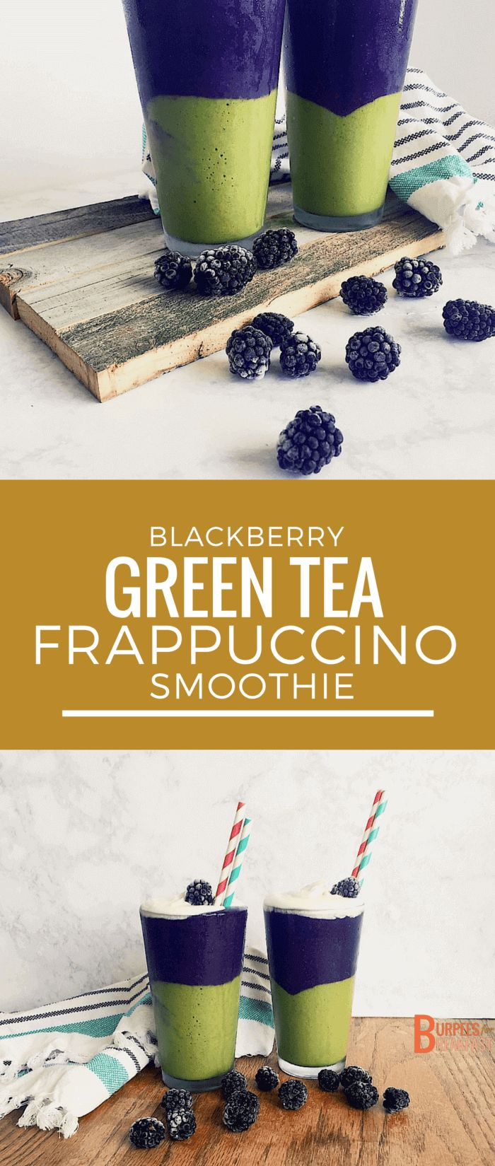This Blackberry Green Tea Frappuccino Smoothie is a much healthier take on the original, and tastes just as delicious. | Burpees for Breakfast
