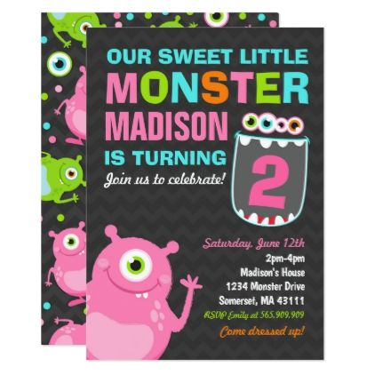 Monster Birthday Invitation Pink Monster Party - invitations custom unique diy personalize occasions