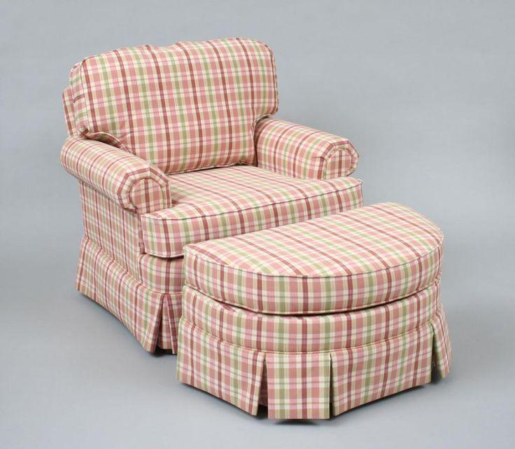 Modern Plaid Upholstered Club Chair U0026 Ottoman