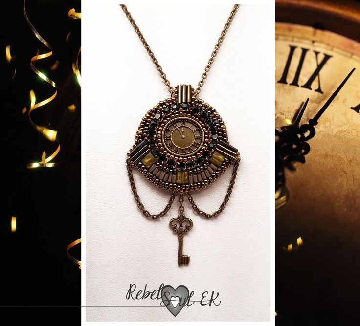 rebelsoulek pendant handmade jewelry beaded clock embroidries pedant https://www.etsy.com/listing/267254133